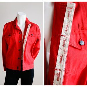 Vintage Rare Red Coca Cola Denim Jean OOAk Jacket